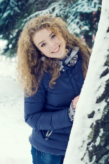 Photo session in the winter forest